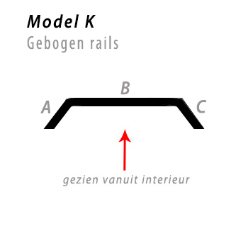 Model bocht K gebogen rails