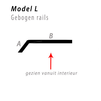 Model bocht L gebogen rails