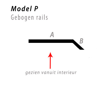 Model bocht P gebogen rails